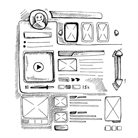 Wireframe UI Kit. Web design personal page template. Doodle picture. Illustration