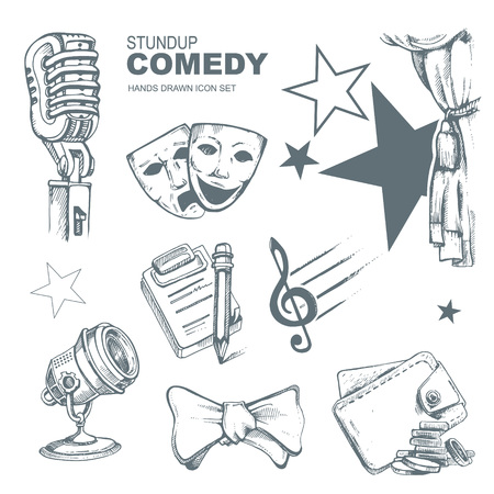 comedy: Icons set for standup comedy show. Hand drown funny pictures Illustration