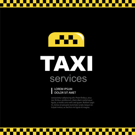 text area: taxi yellow emblem on black background with text area