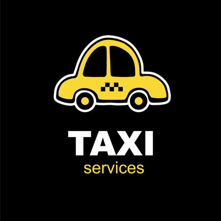 yelow: emblem for taxi service with one yelow cartoon car