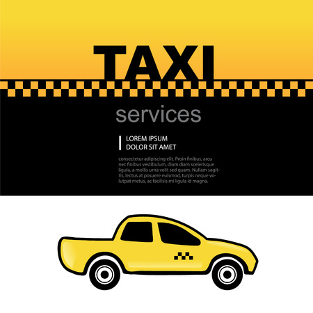 yelow: Taxi service abstract background with text area and one yelow car. Vector picture Illustration