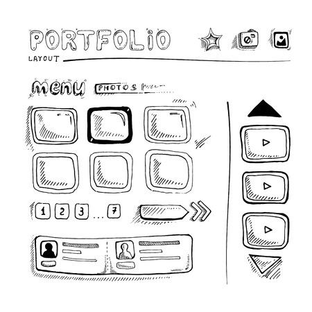 map toolkit: Wireframe UI Kit. Web design portfolio sketch elements
