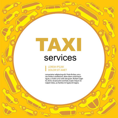 servicing: Yellow Vector abstract background wit taxi service cars. Round label with text area. Illustration