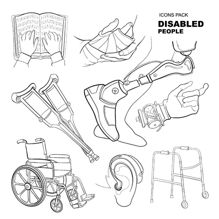 blind person: icon set for disabled people. linear pictures