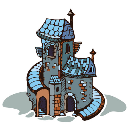 Urban graphic template made in vector. Medieval castles. Architectural or constructional flyer design. Vetores