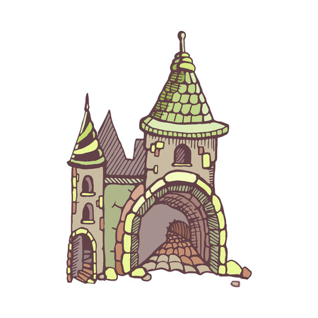 constructional: Urban graphic template made in vector. Medieval castles. Architectural or constructional flyer design.