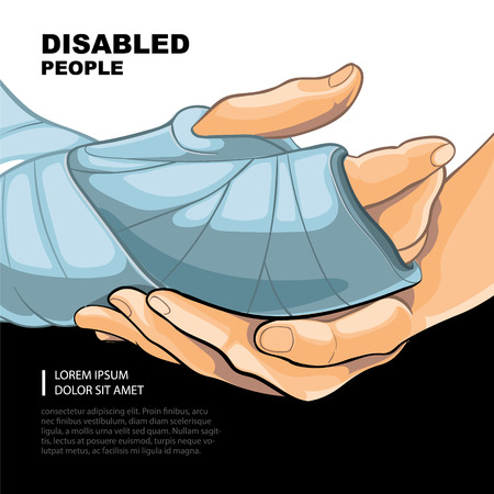 physical impairment: Broken right hand. Template for the page of the magazine with vector picture.