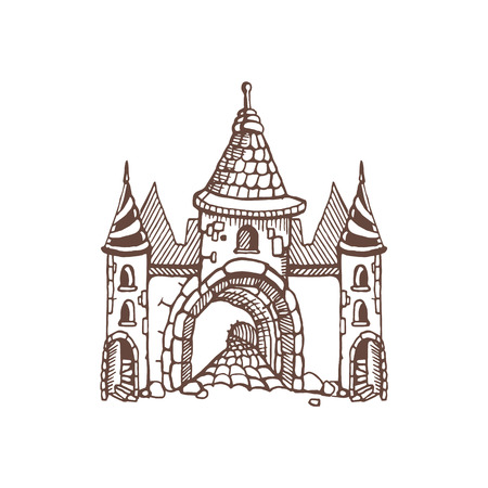 constructional: Hand drawn Urban graphic template made in vector. Medieval castles. Architectural or constructional flyer design.