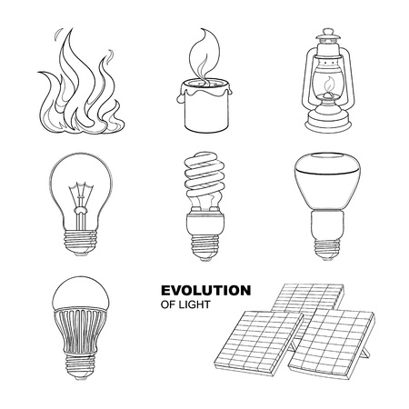 twist cap: Evolution of light. Vector linear drawings set of lighting equipment.
