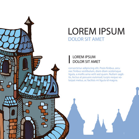 constructional: Hand drawn Urban graphic template made in vector. Medieval castles. Architectural or constructional flyer design with place for your text