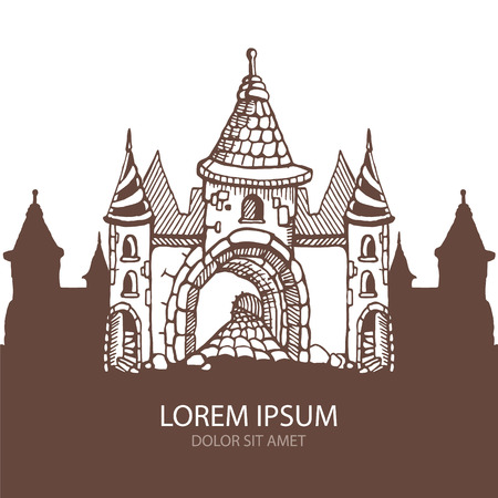 Hand drawn Urban graphic template made in vector. Medieval castles. Architectural or constructional flyer design with place for your text