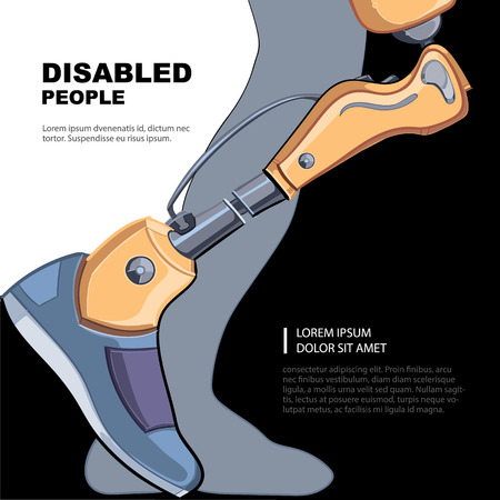 victim war: Artificial limb for the right foot. Template for the page of the magazine with vector picture.
