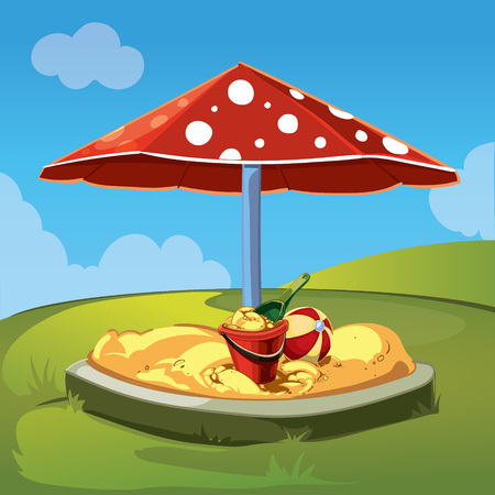 sandbox: childrens sandbox with the red bucket and green shovel. A canopy in the form of a red mushroom