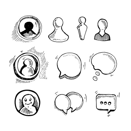 newsgroup: hand drawn picture with web chat icons Illustration