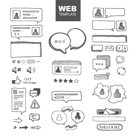 web site ellements sketch. web chat dialogs menu Illustration
