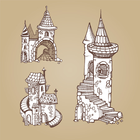 constructional: Hand drawn Urban graphic template made in vector. Medieval castles. Architectural or constructional icons set