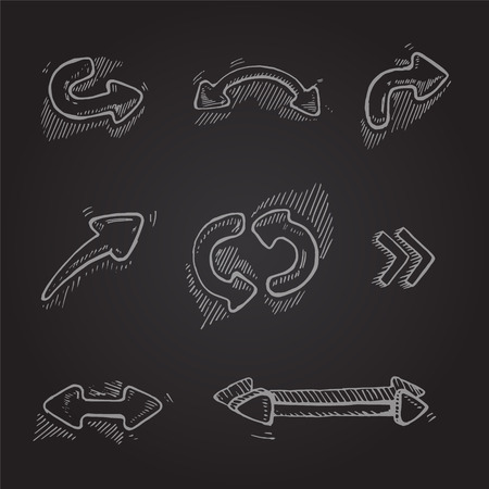 upward movements: Hand drawn arrows set on dark background. Vector picture Illustration