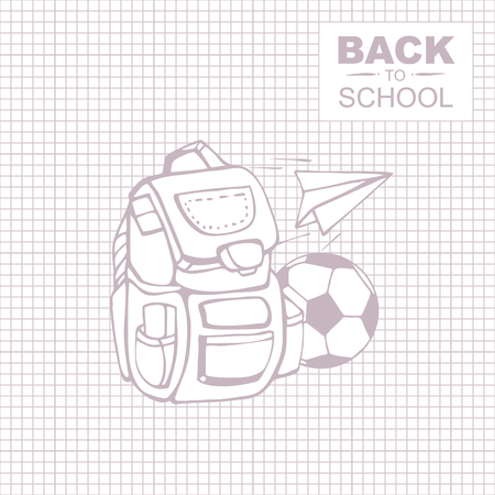 school backpack: Outline background picture for notepad with place for your text. School backpack with soccerball and paper plane.