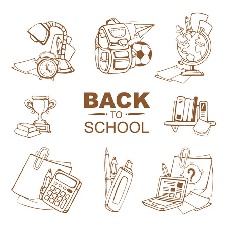 ellements: Back to School. Conceptual icons set with schooll ellements isolate on white background Illustration