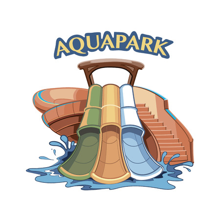 Three Water hills in an aqua park. Vector Illustration