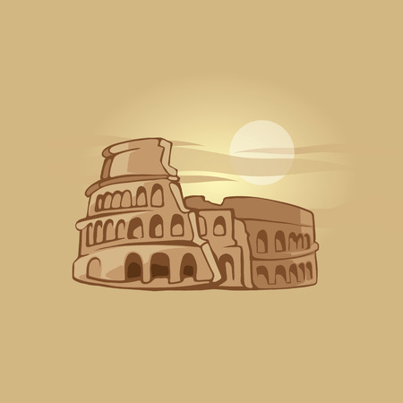 hand drawn illustration of Colosseum Vetores