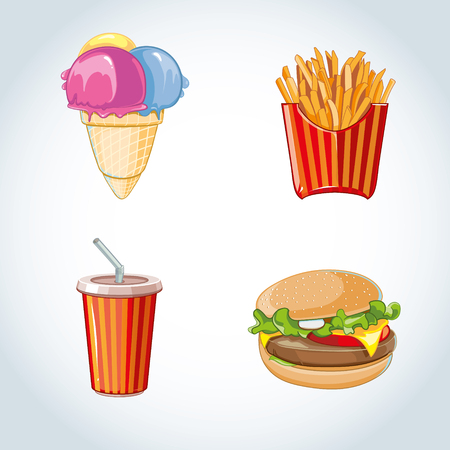 cold drink: fast food icon set: burger, plastic glass with cold drink, French fries, ice cream. Pictures isolate on white background
