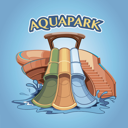 Three Water hills in an aquapark. Vector illustration