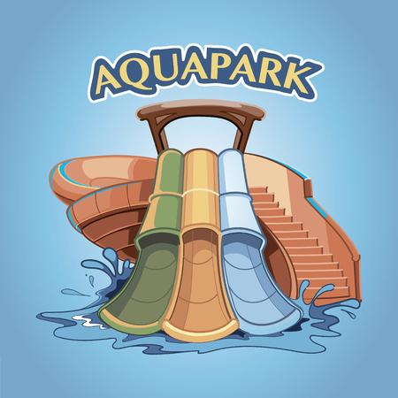 Three Water hills in an aquapark. Vector illustration