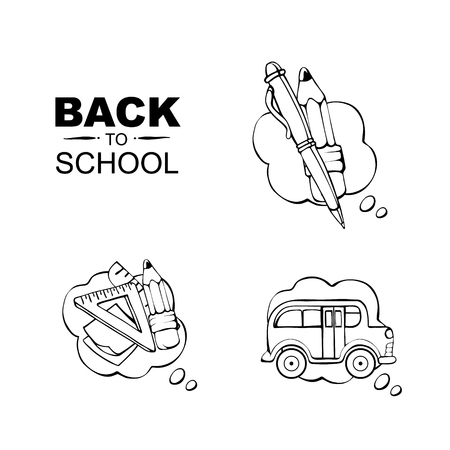 highschool: Back to School. Conceptual icons set with school elements isolate on white background Illustration