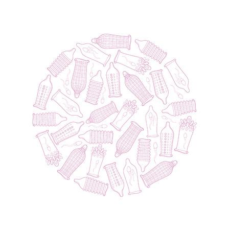 condones: El cuadro del concepto redonda con preservativos conjunto de aislar en el fondo blanco