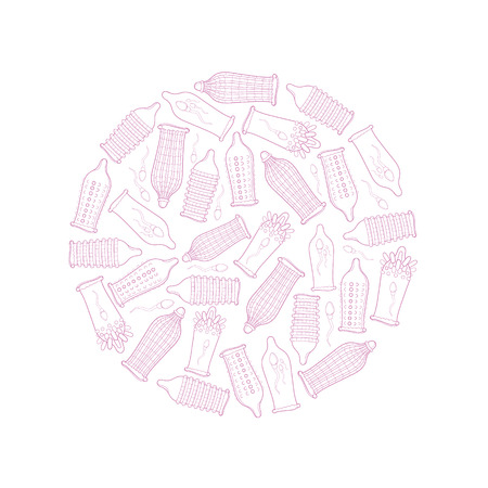 condoms: round concept picture with condoms set isolate on white background Illustration