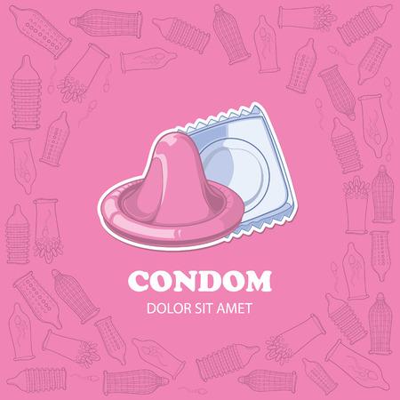 la imagen de color rosa de fondo con los condones