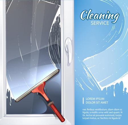 productos quimicos: Concepto del fondo de la imagen del servicio de limpieza con la ilustración de limpiador de goma para ventanas.