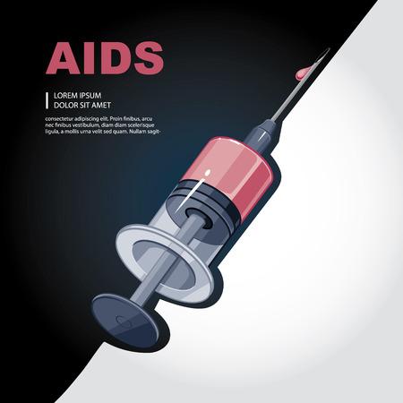 surgical needle: syringe with blood.