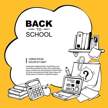 Lijntje foto met rekenmachine, potlood, boeken, appel, laptop en papier met paperclip isoleren op een gele achtergrond
