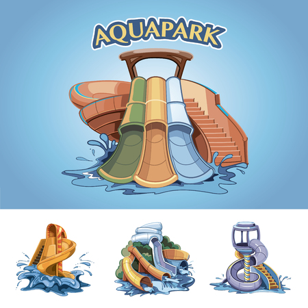 four pictures set of Water hills in an aqua park. Vector Illustration