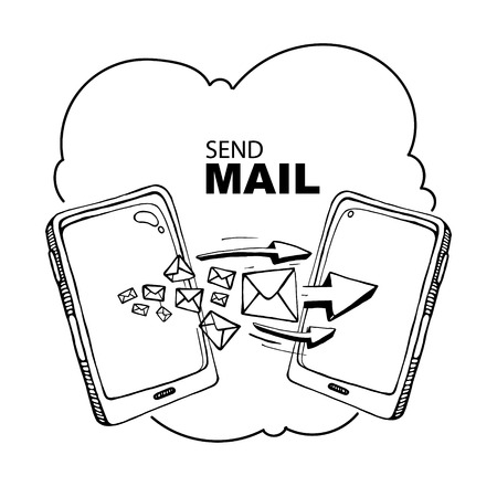 mail delivery: Two hand drawn Smart phones and envelope - sms and mail concept picture.