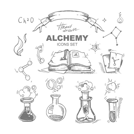 medieval medicine: hand drawn alchemy icons set with test tube. Vector picture isolate on white background