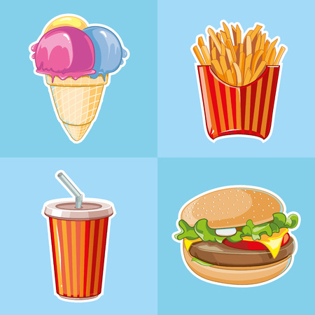 cold drink: fast food icon set: burger, plastic glass with cold drink, French fries, ice cream