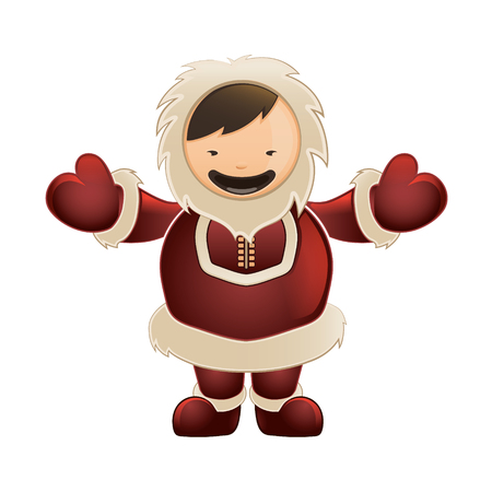 Eskimo in red clothes. Funny character with big smile.