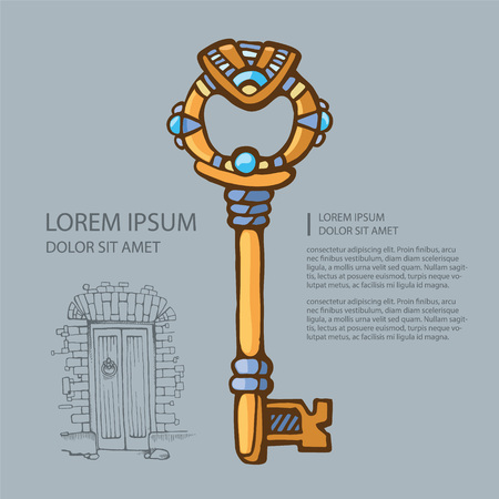 gold key: picture of ancient gold key with jewels. cover template with place for text.