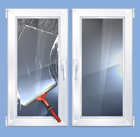 Vector background illustration with rubber cleaner for windows.