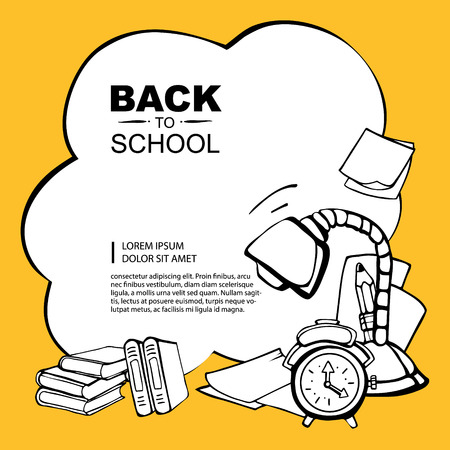 middle school: Line background pictrue with desk lamp, pencil, alarm clock, books and paper isolate on yellow background