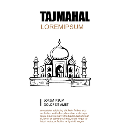jehan: hand drawn picture of Taj Mahal mosque isolated on white background Illustration