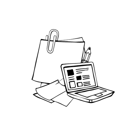 middle school: Line pictrue with laptop, pencil and paper with paper clip isolate on white background Illustration