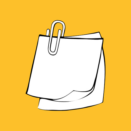 paper note: isolate picture of note paper with a paper clip on yellow background Illustration