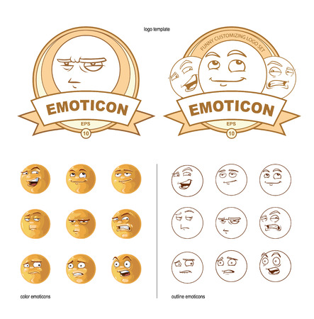 sarcastic: customizing set of funny nine emoticons Illustration