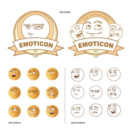 sarcastic: customizing set of funny nine emoticons Illustration