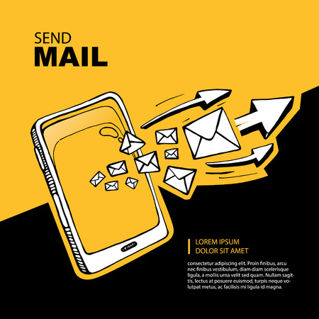 Smart phone and envelope - sms and mail concept picture. Illustration