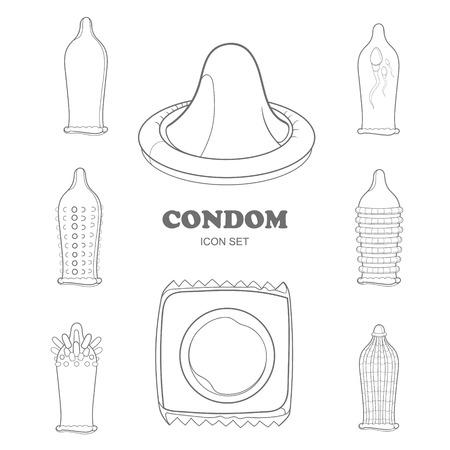 condones: iconos de condones con una superficie diferente
